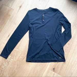 MATINIQUE BLACK HENLEY LONG SLEEVES SHIRT - M
